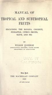 Cover of: Manual of tropical and subtropical fruits