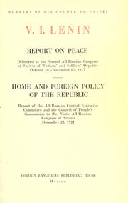 Cover of: Report on peace