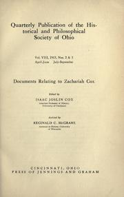 Cover of: Documents relating to Zachariah Cox