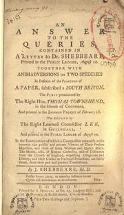 Cover of: An answer to the queries, contained in a letter to Dr. Shebbeare