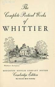 Cover of: The complete poetical works of Whittier