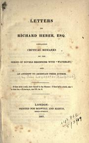 Cover of: Letters to Richard Heber, Esq