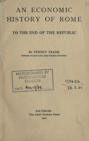 Cover of: An economic history of Rome to the end of the Republic