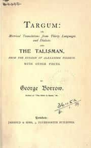 Cover of: Targum, or, Metrical translations from thirty languages and dialects