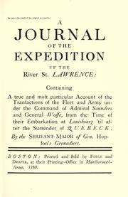 Cover of: A Journal of the expedition up the River St. Lawrence |