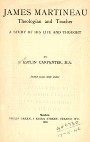 Cover of: James Martineau, theologian and teacher