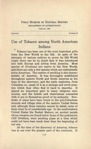 Cover of: Use of tobacco among North American Indians