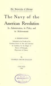 Cover of: The navy of the American revolution | Paullin, Charles Oscar
