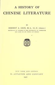 A history of Chinese literature by Herbert Allen Giles