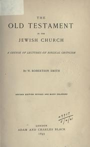 Cover of: The Old Testament in the Jewish church