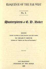 Cover of: Masterpieces of E. D. Baker by Edward Dickinson Baker