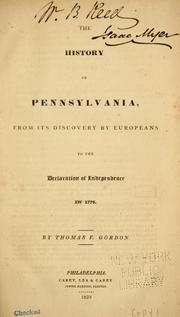 Cover of: The history of Pennsylvania: from its discovery by Europeans, to the Declaration of Independence in 1776