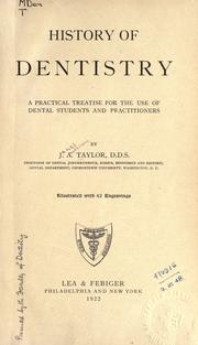 Cover of: History of dentistry