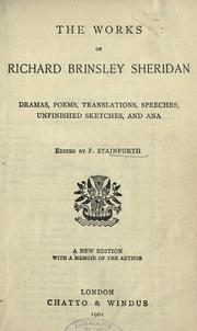 Cover of: The works of Richard Brinsley Sheridan