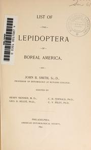 Cover of: List of the Lepidoptera of boreal America