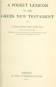 Cover of: A pocket lexicon to the Greek New Testament