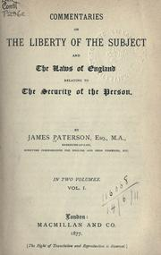 Cover of: Commentaries on the liberty of the subject and the laws of England