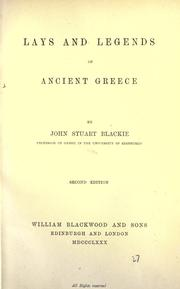 Cover of: Lays and Legends of Ancient Greece