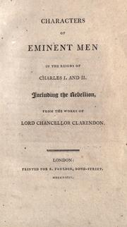 Cover of: Characters of eminent men in the reigns of Charles I and II