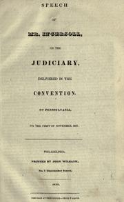 Cover of: Speech of Mr. Ingersoll, on the judiciary