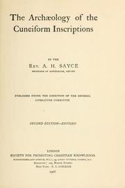 The archaeology of the cuneiform inscriptions by Archibald Henry Sayce