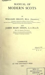 Cover of: Manual of modern Scots | Grant, William