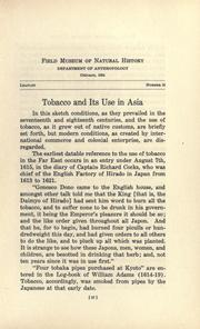 Cover of: Tobacco and its use in Asia