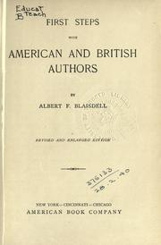 Cover of: First steps with American and British authors | Albert Franklin Blaisdell