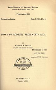 Cover of: Two new rodents from Costa Rica