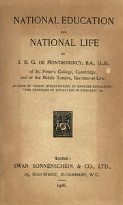 Cover of: National education and national life