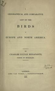 Cover of: A geographical and comparative list of the birds of Europe and North America