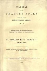 Cover of: Calendar of the Charter Rolls preserved in the Public Record Office