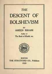 Cover of: The descent of bolshevism