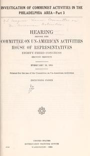 Cover of: Investigation of Communist activities in the Philadelphia area: Hearing
