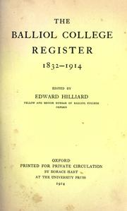 Cover of: The Balliol College register | Balliol College (University of Oxford).