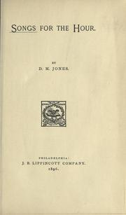 Cover of: Songs for the hour