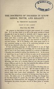 Cover of: The doctrine of degree in knowledge, truth, and reality