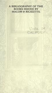 Cover of: A bibliography of the books issued by Hacon & Ricketts