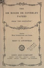 Cover of: The Sir Roger de Coverley papers from the Spectator
