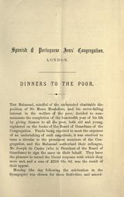 Cover of: The centenary of Sir Moses Montefiore, Bart., 8th Heshvan, 5645-26th October, 1884: dinners to the poor