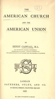 Cover of: The American church and the American union
