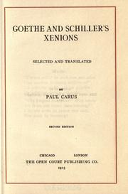 Cover of: Goethe and Schiller's Xenions