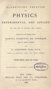 Cover of: Elementary treatise on physics