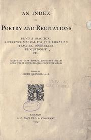 An index to poetry and recitations by Edith Granger