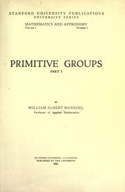 Cover of: Primitive groups ..