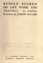 Cover of: Rudolf Eucken: his life, work, and travels