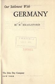 Cover of: Our settlement with Germany