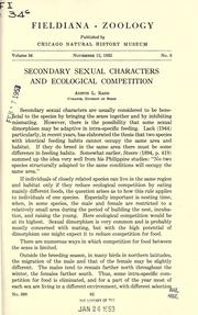 Cover of: Secondary sexual characters and ecological competition