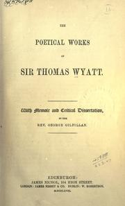 Cover of: The poetical works of Sir Thomas Wyatt by Wyatt, Thomas Sir