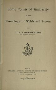 Cover of: Some points of similarity in the phonology of Welsh and Breton